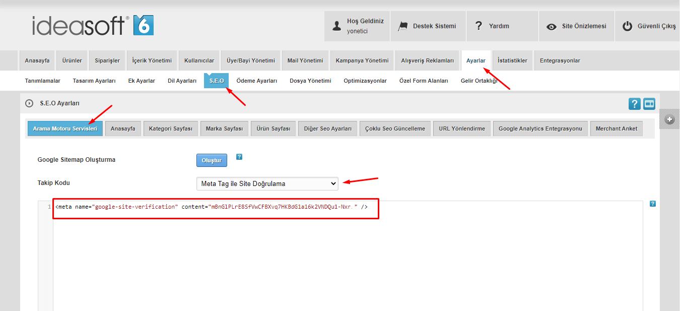 ideasoft panel site doğrulama google search console